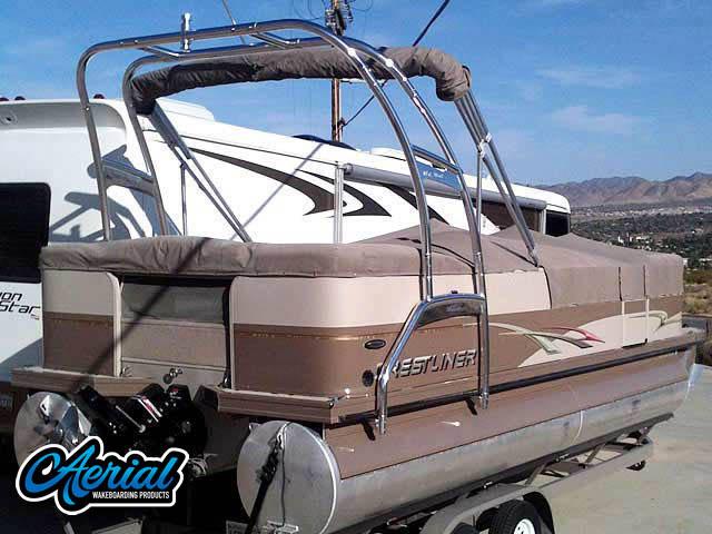 Wakeboard tower for Crestliner pontoon boat