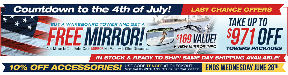 Free wakeboard tower accessory offer