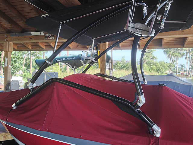 Airborne Tower with Eclipse Bimini ski tower Installed on 1991 Barefoot/Excel Boat