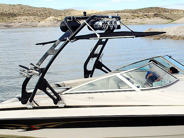 FreeRide Tower with Bimini ski tower Installed on 2002 Reinell 240-BR Boat
