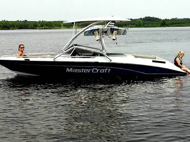 Airborne Tower with Eclipse Bimini ski tower Installed on 1991 Mastercraft Boat