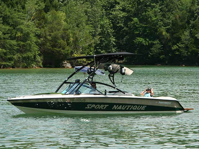 Assault Tower with Eclipse Bimini ski tower Installed on 1997 Correct Craft Sport Nautique Boat