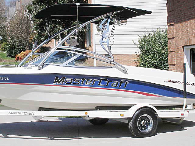 Assault Tower with Eclipse Bimini ski tower Installed on 1995 MarsterCraft Maristar 200VRS Boat