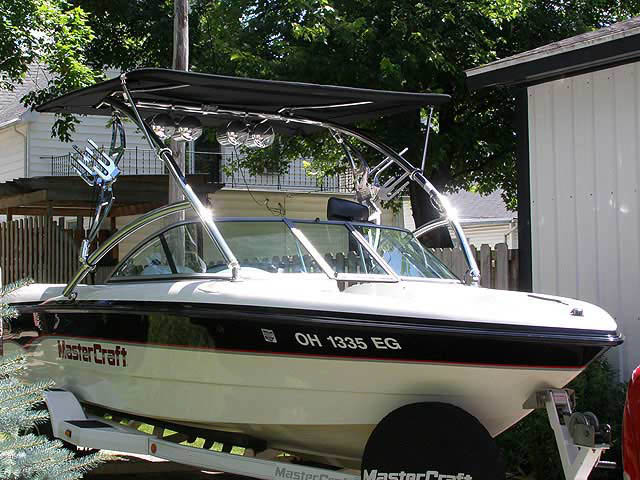 Assault Tower with Eclipse Bimini ski tower Installed on 2000 MasterCraft Pro-Star 205 Boat