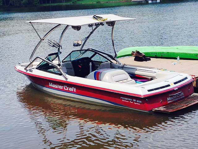 1994 MasterCraft Prostar 205 wakeboard Airborne Tower with Eclipse Bimini 99261-1