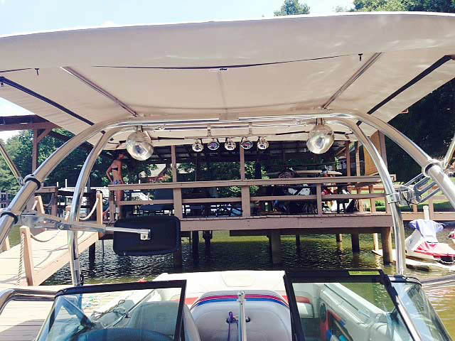 Airborne Tower with Eclipse Bimini ski tower Installed on 1994 MasterCraft Prostar 205 Boat